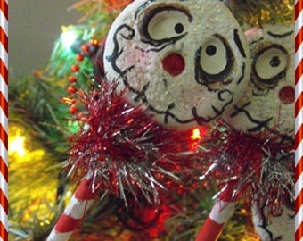 Grimmy Pop Christmas tree ornament OOAK 6 inches
