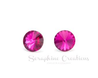 Fuchsia Earrings Swarovski Rivoli Hot Pink Earrings Sparkly Bridal Bridesmaid Gift Bridal Party Bridesmaid Jewelry Pink Crystals K010