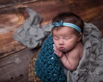 Chunky Thunder Blue Cozy Newborn Baby Blanket Photo Prop