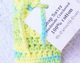 Yellow Turquoise and Green Crocheted Soap Bag Soap Saver Cotton with Drawstring by Distinctly Daisy