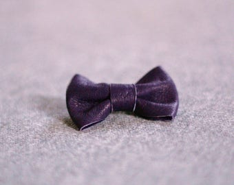 Imperial Purple Leather bow brooch