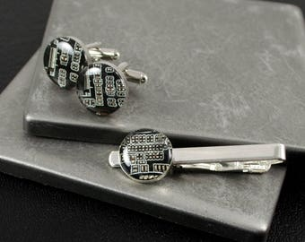 Circuit Board Cufflinks and Tie Bar Set Black, Wearable Technology, Electrical Engineer Gift, Groomsman Gift, Computer Jewelry, Techie