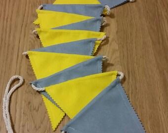Felt bunting - yellow and grey