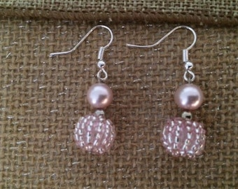 Light Pink Earring Beads and Pearl Dangle Earrings Gift Handmade Elegant Women  Fancy That Free Us Shipping