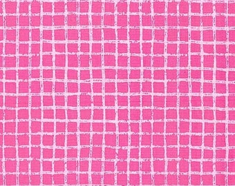 Pink Pretty Grid Tweet Me Squares Print Fat Quarter Cotton Fabric by Michael Miller (UK)