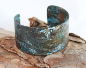Copper Cuff Bracelet with Blue Patina (100917-014)