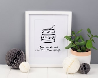 Honey Art Print, A5 Art Print, Christian Art Print, Christian Gifts
