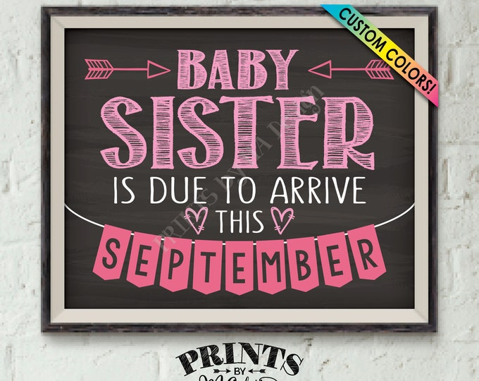 "It's a Girl Gender Reveal, Getting a Baby Sister Pregnancy Announcement, Baby Sis is Due, Custom Chalkboard Style PRINTABLE 8x10/16x20"" Sign"
