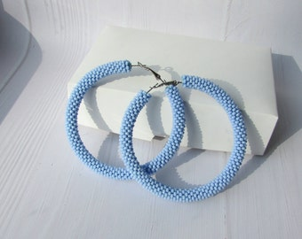 Big hoop earrings Beaded hoop earrings Light blue hoops beadwork earrings Beaded earrings Crochet earrings Statement earrings Geometric