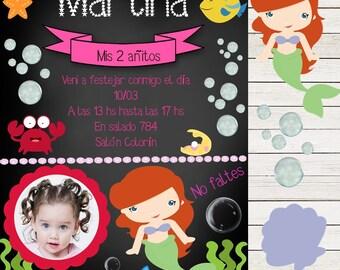 Invitation Chalkboard Little Mermaid