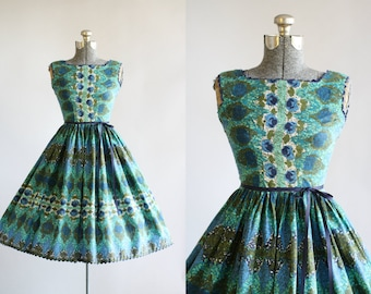 Vintage 1950s Dress / 50s Cotton Dress / Blue and Turquoise Rose and Harlequin Print Dress XS/S