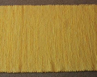 Handwoven Rag Rug - Bright Lemon Yellow - 43 inches....(#182)