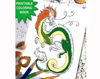 Amazing Dragons ADULT COLORING BOOK, adult colouring book download, Instant Download Printable Coloring Book Page, Dragon LineArt