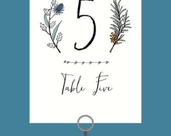 Flora & Fauna Hand Drawn Wedding Table Signs