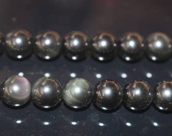 Natural Black Obsidian Round Beads,Natural Black Obsidian Beads,4mm 6mm 8mm 10mm 12mm 14mm 16mm Natural beads,one strand 15""