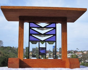 Craftsman Purple Stained Glass Beveled Glass Solid Oak Display|Plant Stand