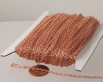 NEW Sale 50 ft spool of Bright Copper Plated Round cable chain - Sturdy 3.0x2.1mm - unsoldered link