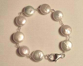 Freshwater Coin Pearl Sterling Silver Bracelet