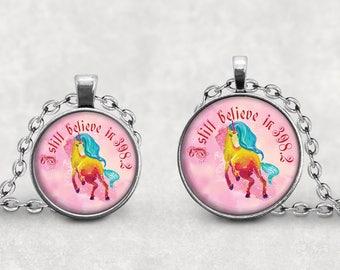 Unicorn Fairy Tale Necklace, Book Lover, Jewelry, I still believe in 398 Unicorn Necklace, Dewey Decimal, Librarian Gift