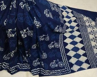 Indigo White Hand Block Printed Cotton Saree In Natural Colors