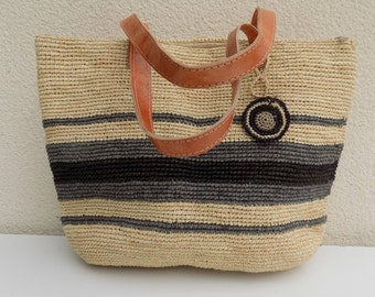Raffia handbag, travel bag, beach bag, city bag, shopping bag, white bag ecru, grey, market bag, handles, leather, beach, summer, all handmade