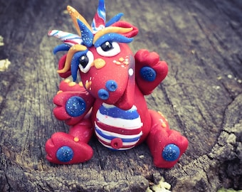Polymer Clay Dragon 'Glory' - Independence Day Limited Edition Collectible