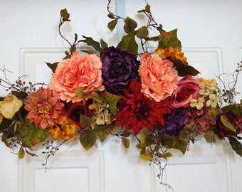 Door Swag Wreath, Spring Summer Fall Wreath, Peony Roses Chrysanthemum Wreath,Door Wreath, Shabby Chic wreath