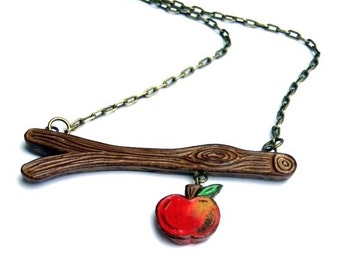 Tree Branch with Red Apple Necklace - Out on A Limb - Forbidden Fruit - Woodland Woodgrain Faux Bois