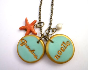 Starfish Name Necklace, Grandma Necklace, Beach jewelry, Ocean, Personalized Necklace, to Grandma from Granddaughter, Mother of the Bride