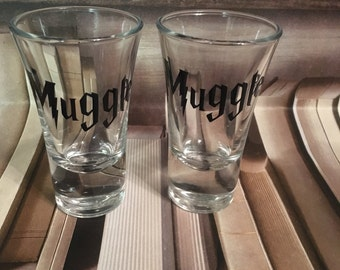 MUGGLE  no maj harry Potter Shot Glasses Set of Two Vinyled or Etched Hogwarts glasses available Slytherin ravenclaw griffindor hufflepuff