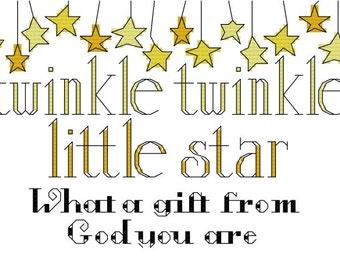 Twinkle Twinkle Little Star Baby Cross Stitch Pattern