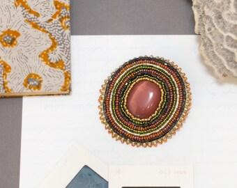 Bead Embroidered Pin, Rhapso, Brooch, Orange, Gold, Beadwork, Beaded, Bead Embroidery