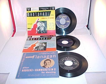 Ralph Flanagan and Montovani - 3 EP 45 Vinyl Records - Picture Sleeve