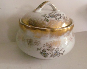 Covered Powder jar Victorian Antique Soap Dishes powder box jar Edwardian Vanity Soap Dish California Pottery Victorian Vanity Dish Dogwood