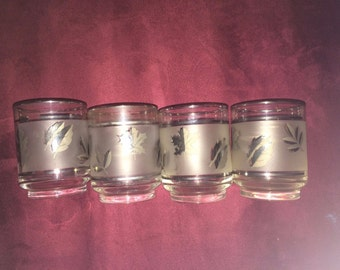 Set 4 Libby's Frosted Silver Platinum Leaf 8 oz Rocks Tumbler Glasses