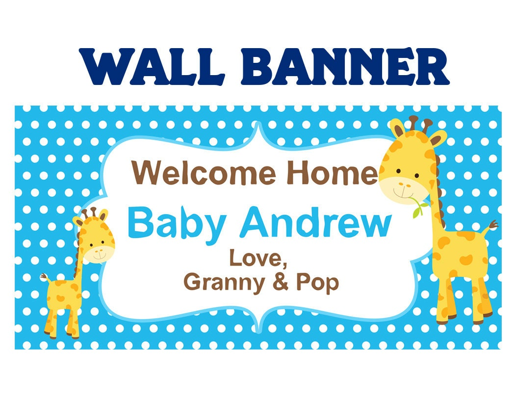 baby shower its a boy baby giraffe welcome home baby boy banners indoor or outdoor