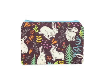 CHOOSE SIZE Rabbit Zipper Pouch / Bunny Camera Bag on Purple / Make Up or Coin Pouch