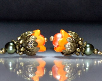 2 Vintage Style Orange Persimmon Tulip Flower Bead Dangles or Earrings 10mm Acrylic Flower Beads