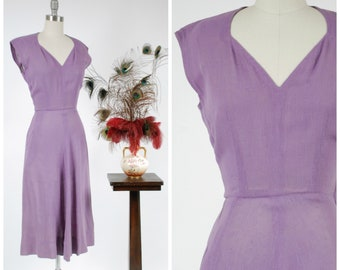 RESERVED ON LAYAWAY Vintage 1940s Dress - Summer 2018 Lookbook - Classic Post War Lilac Colored 40s Sleeveless Dress in a Drapey Rayon/Linen