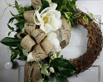 Magnolia Wreath for Front Door, Southern Magnolia Wreath, Summer Wreath, Elegant Wreath for Front Door, Southern Wreath, Mothers Day Gift