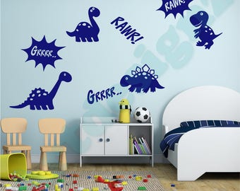 8 x DINOSAUR and Words Tyrannosaurus T Rex Girls Boys Bedroom Childrens Nursery Playroom Vinyl Wall Art Sticker Decal Transfer