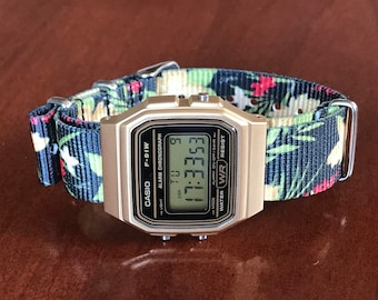 Casio Watch with Black Tropical Flowers Nato Strap, technologically minimalistic watch