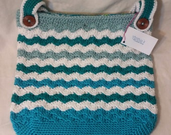 Crocheted Tote Bag with Removable Liner and Handles