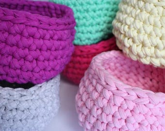 Recycled Tshirt Yarn Small Crochet basket - Lots of colours!