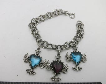 Heart CHARM bracelet Glass stones Silver tone vintage