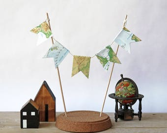 Upcycled Vintage world map cake pendulum