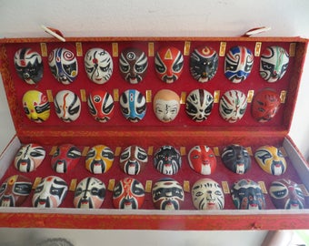 Vintage Set of MINI 32 Chinese Opera Masks Hand Painted, Ceramic in Display Box w/ free ship