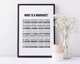 What Is Marriage Art Print - Marriage Poem - Marriage Art Wedding Gift