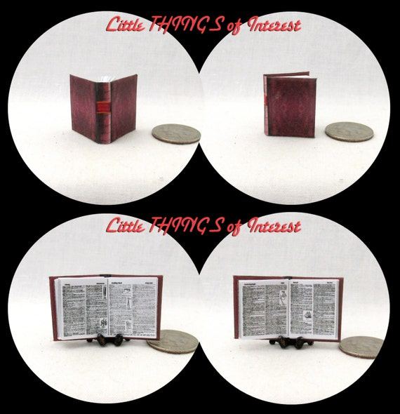 WEBSTER'S DICTIONARY Illustrated Dollhouse Book Miniature Book 1:12 Scale Library Reference Spelling Grammar