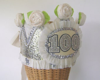100th Birthday Party Crown, 100th birthday party hat, adult birthday party hat, customize